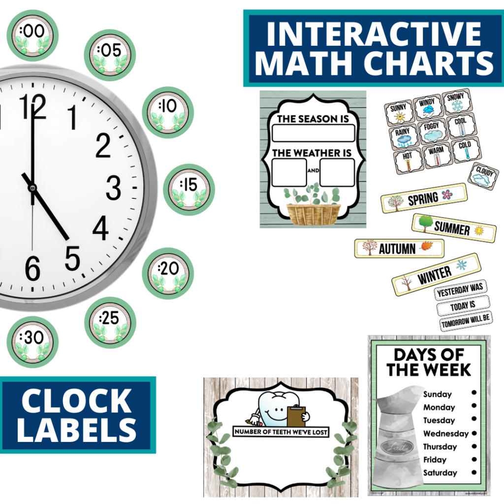 eucalyptus themed math resources for telling time, place value and the days of the week
