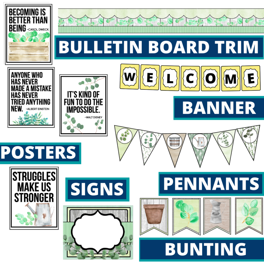 eucalyptus theme bulletin board trim with pennants, banner and bunting