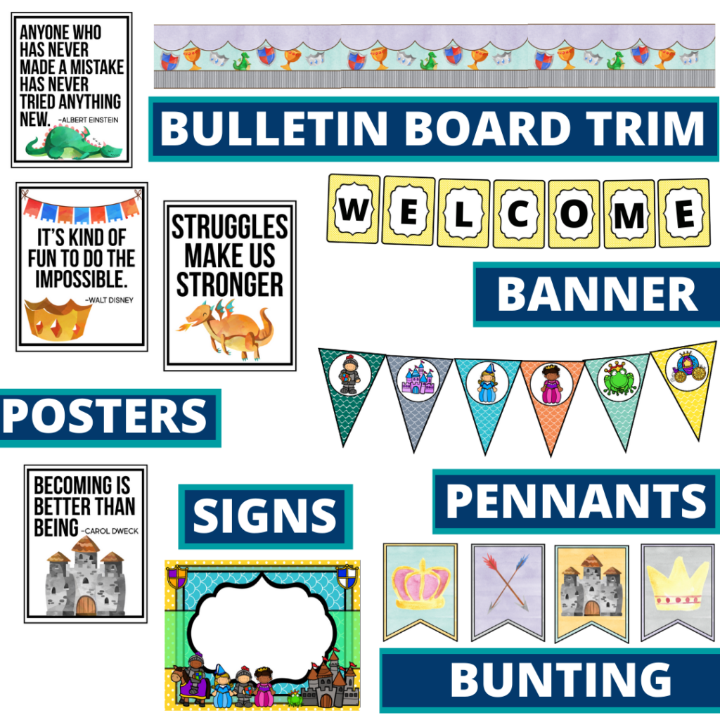 fairy tales theme bulletin board trim with pennants, banner and bunting