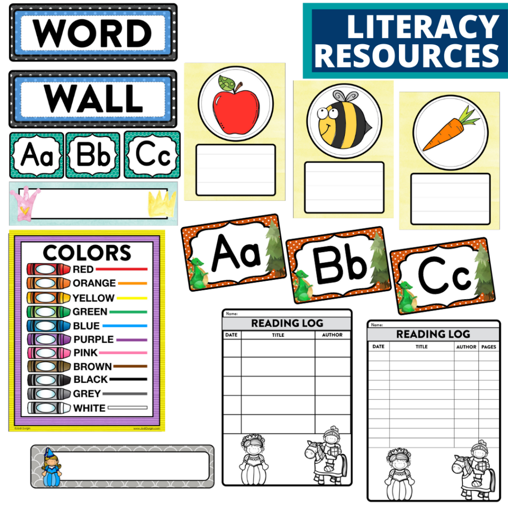 elementary classroom word wall and reading logs for a fairy tales themed classroom