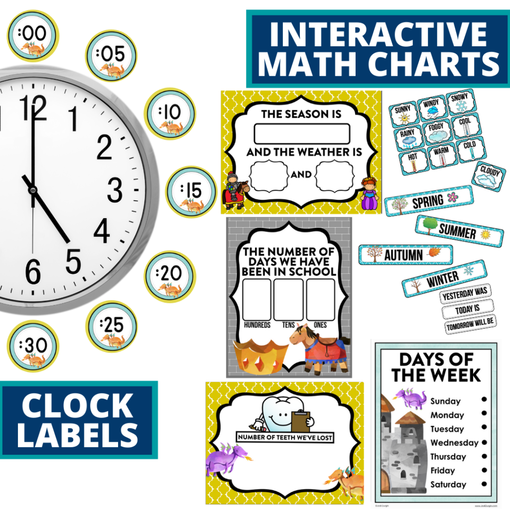 fairy tales themed math resources for telling time, place value and the days of the week