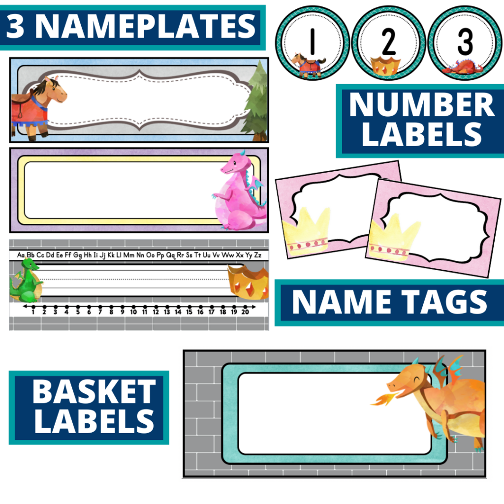 fairy tales nameplates and basket labels for a eucalyptus themed classroom