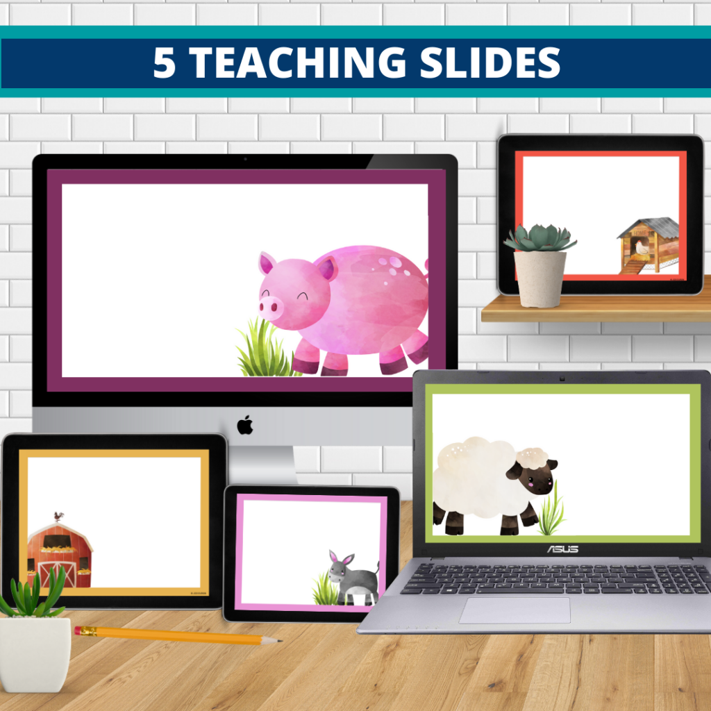 farm theme google classroom slides and powerpoint templates for elementary teachers shown on computers