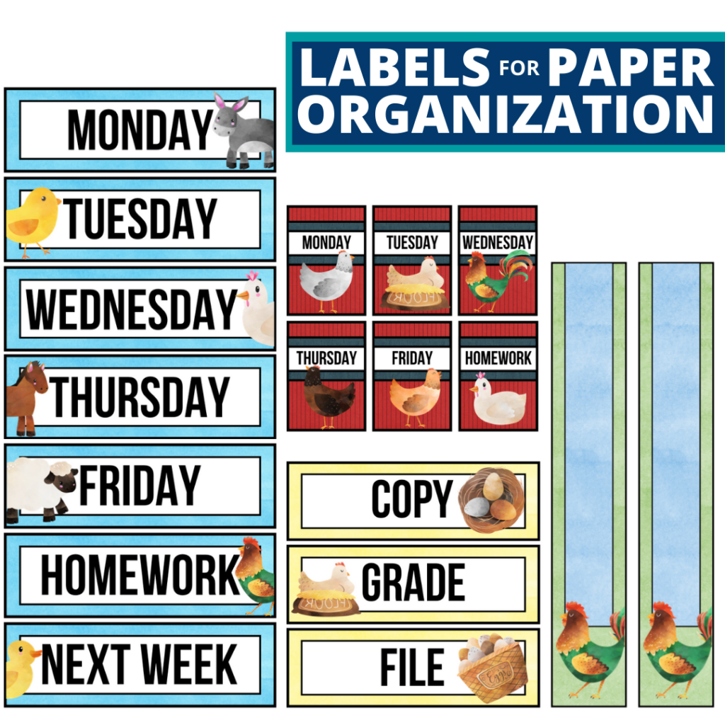 farm theme labels for paper organization in the classroom
