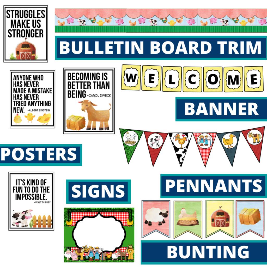 farm theme bulletin board trim with pennants, banner and bunting