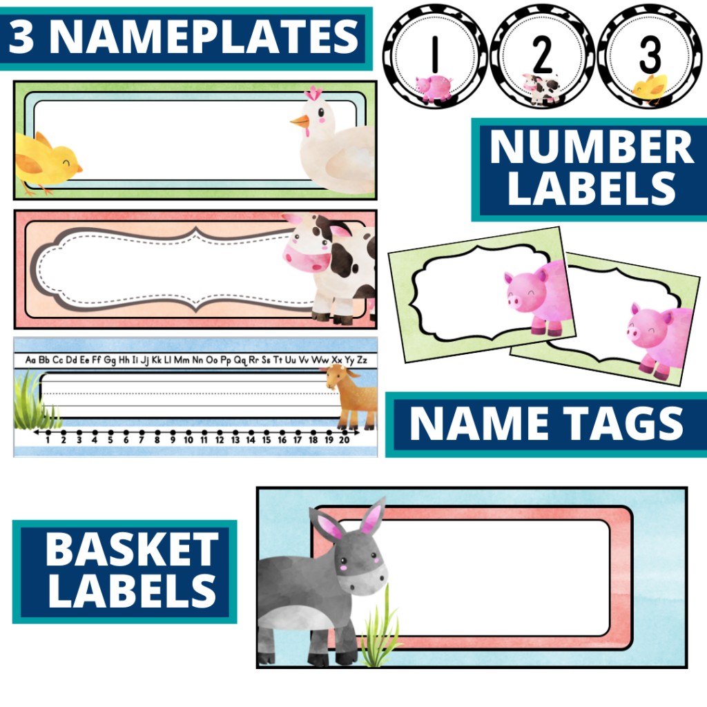 editable nameplates and basket labels for a farm themed classroom