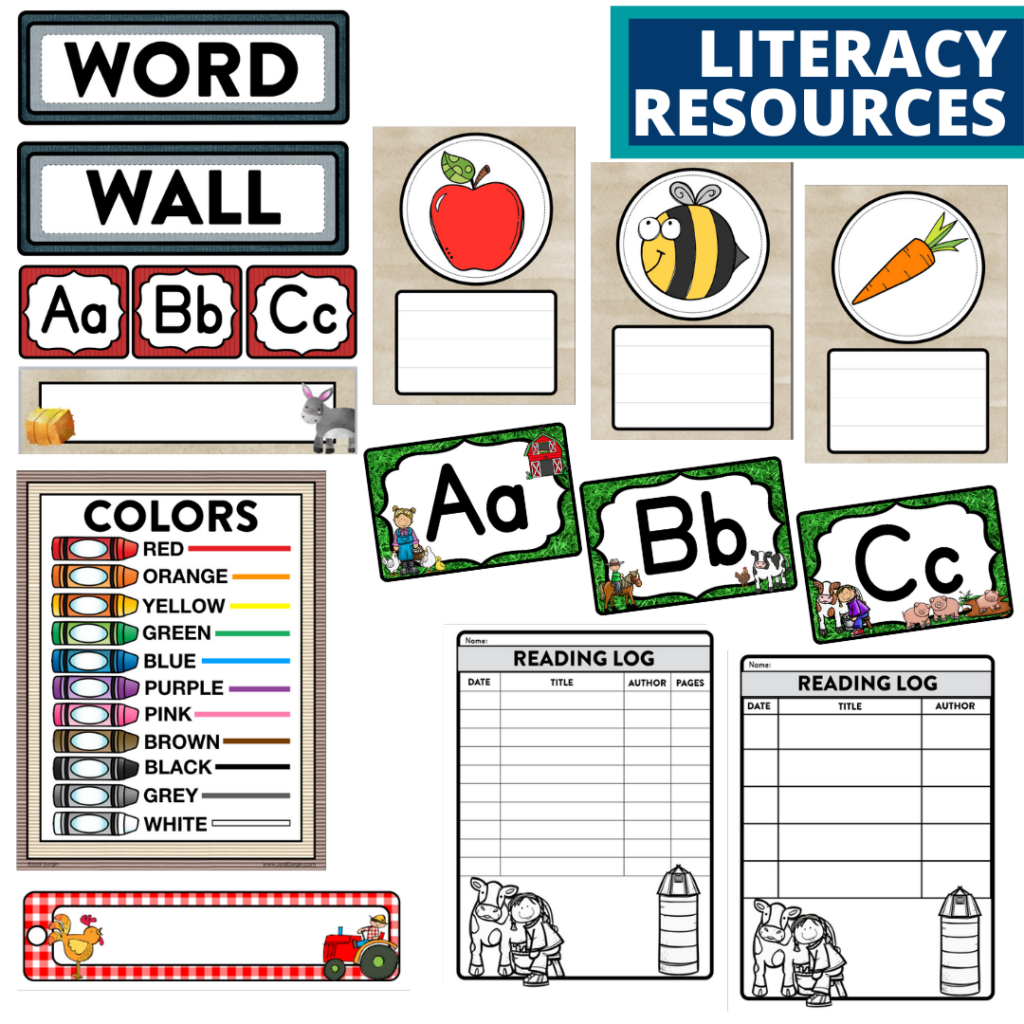 elementary classroom word wall and reading logs for a farm themed classroom