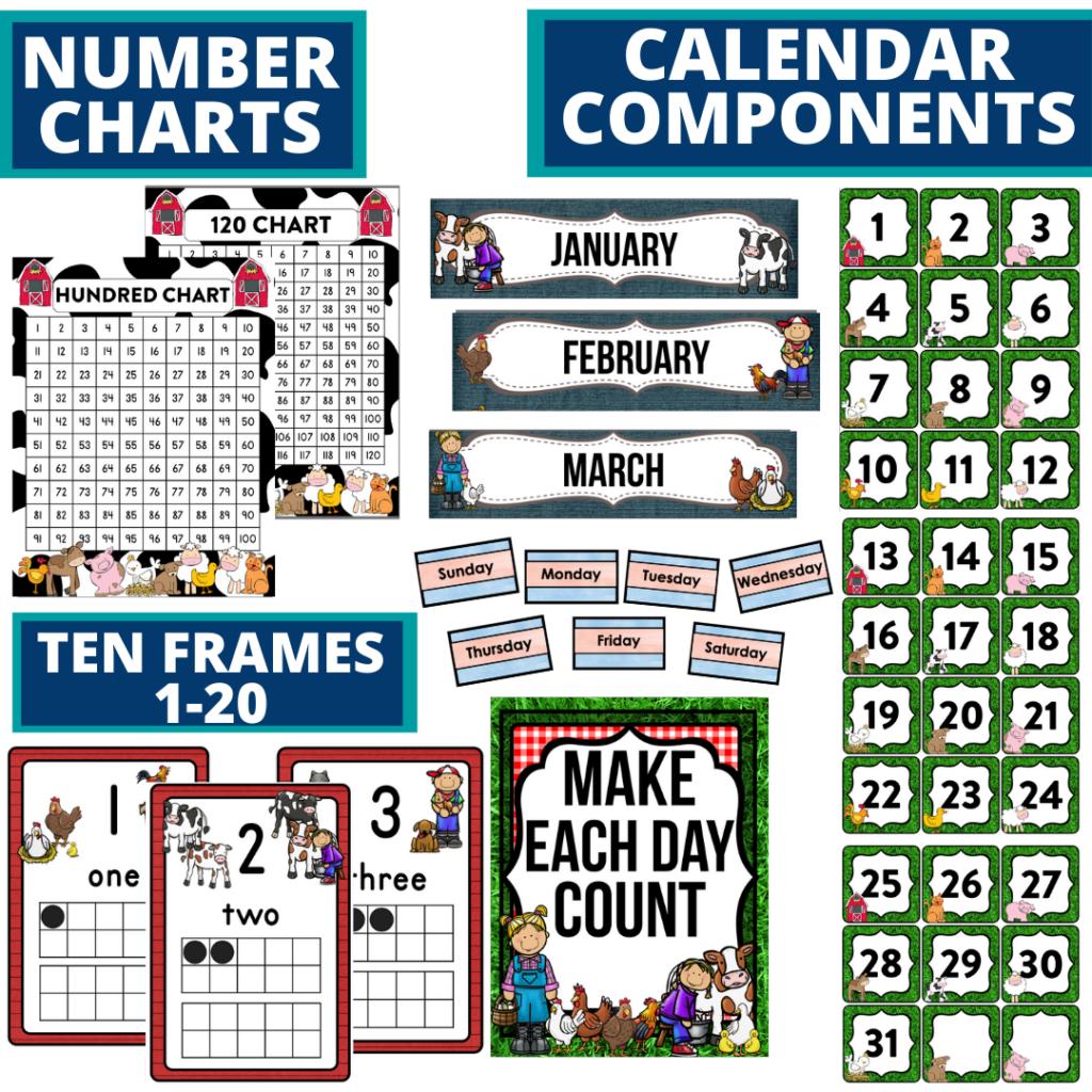 DIY printable classroom calendar for elementary teachers using farm classroom theme