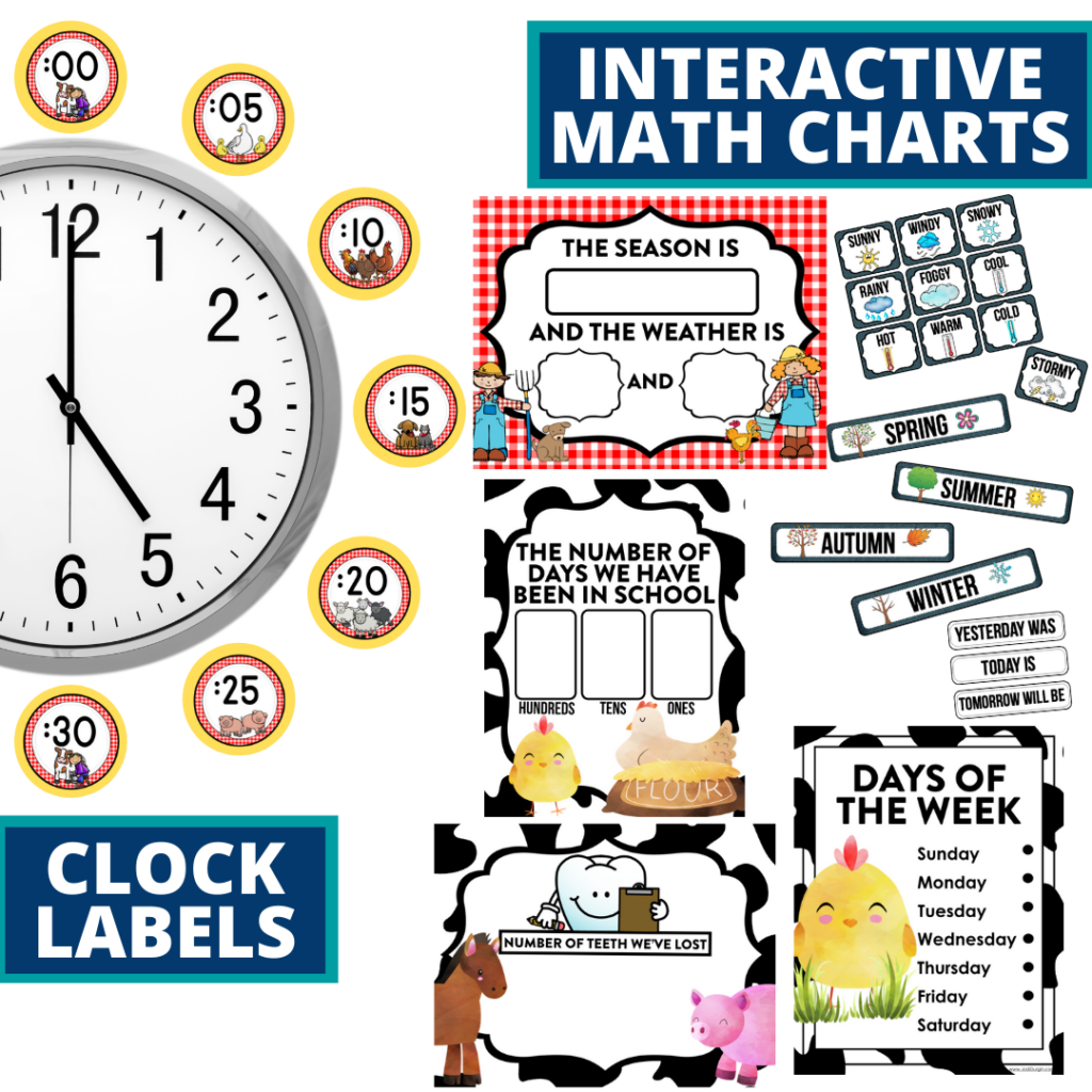 farm themed math resources for telling time, place value and the days of the week