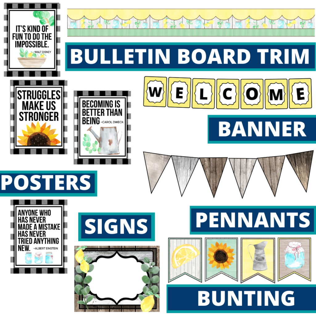 farmhouse theme bulletin board trim with pennants, banner and bunting