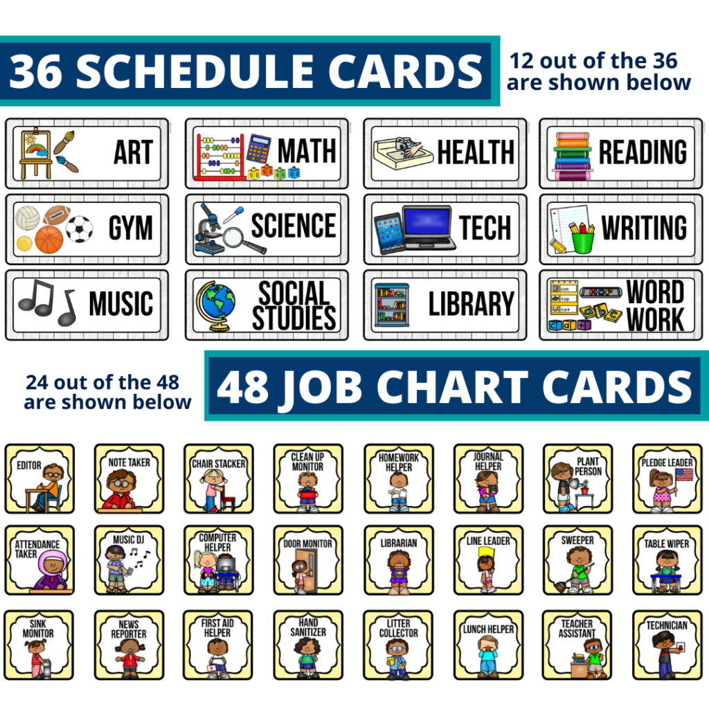 editable elementary schedule cards and job chart labels with a farmhouse theme
