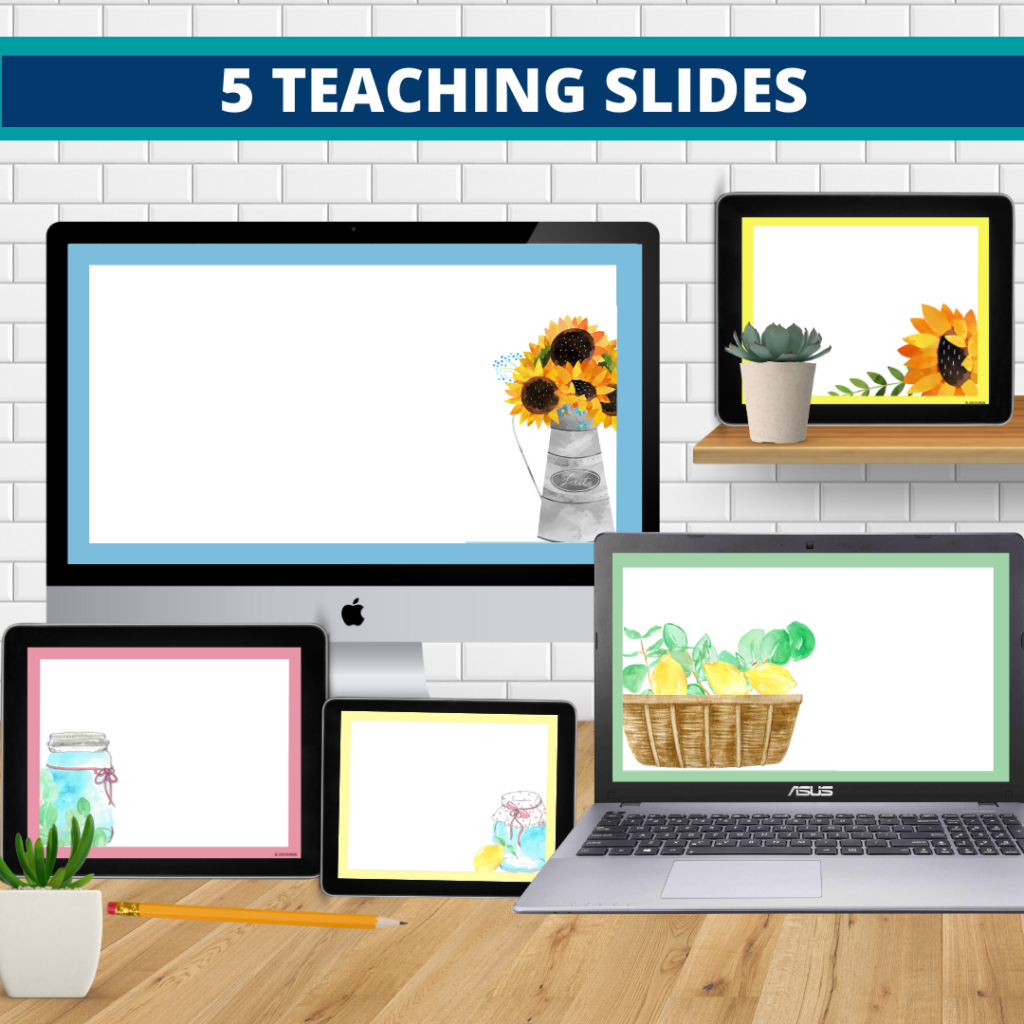 farmhouse theme google classroom slides and powerpoint templates for elementary teachers shown on computers