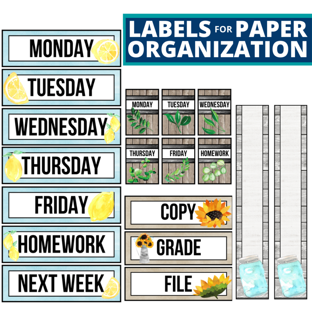farmhouse theme labels for paper organization in the classroom