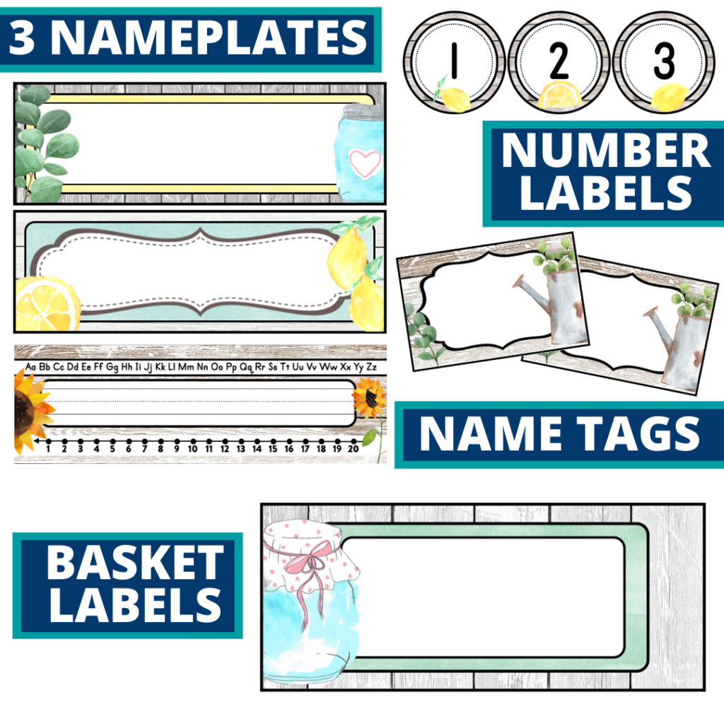 editable nameplates and basket labels for a farmhouse themed classroom