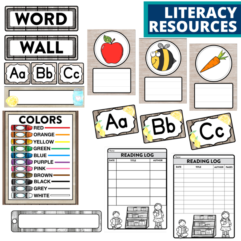 elementary classroom word wall and reading logs for a farmhouse themed classroom