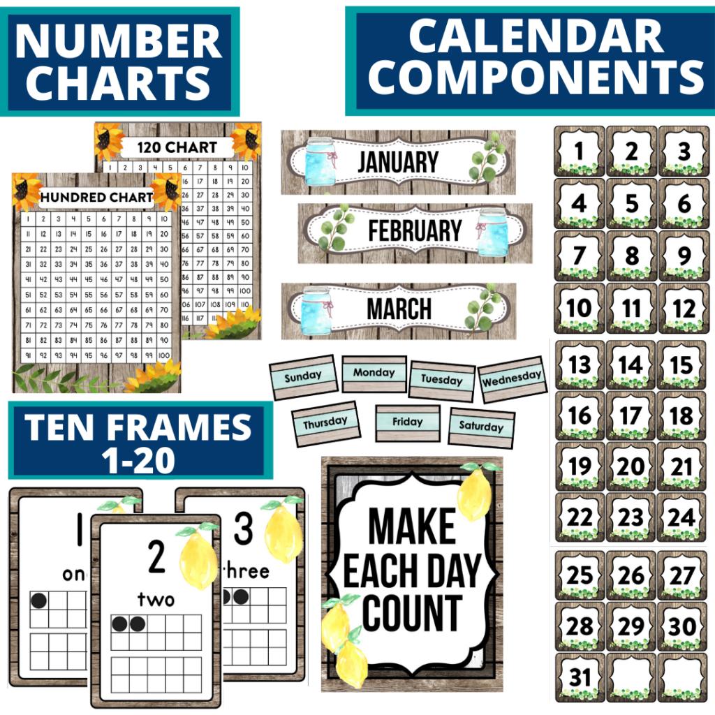 DIY printable classroom calendar for elementary teachers using farmhouse classroom theme