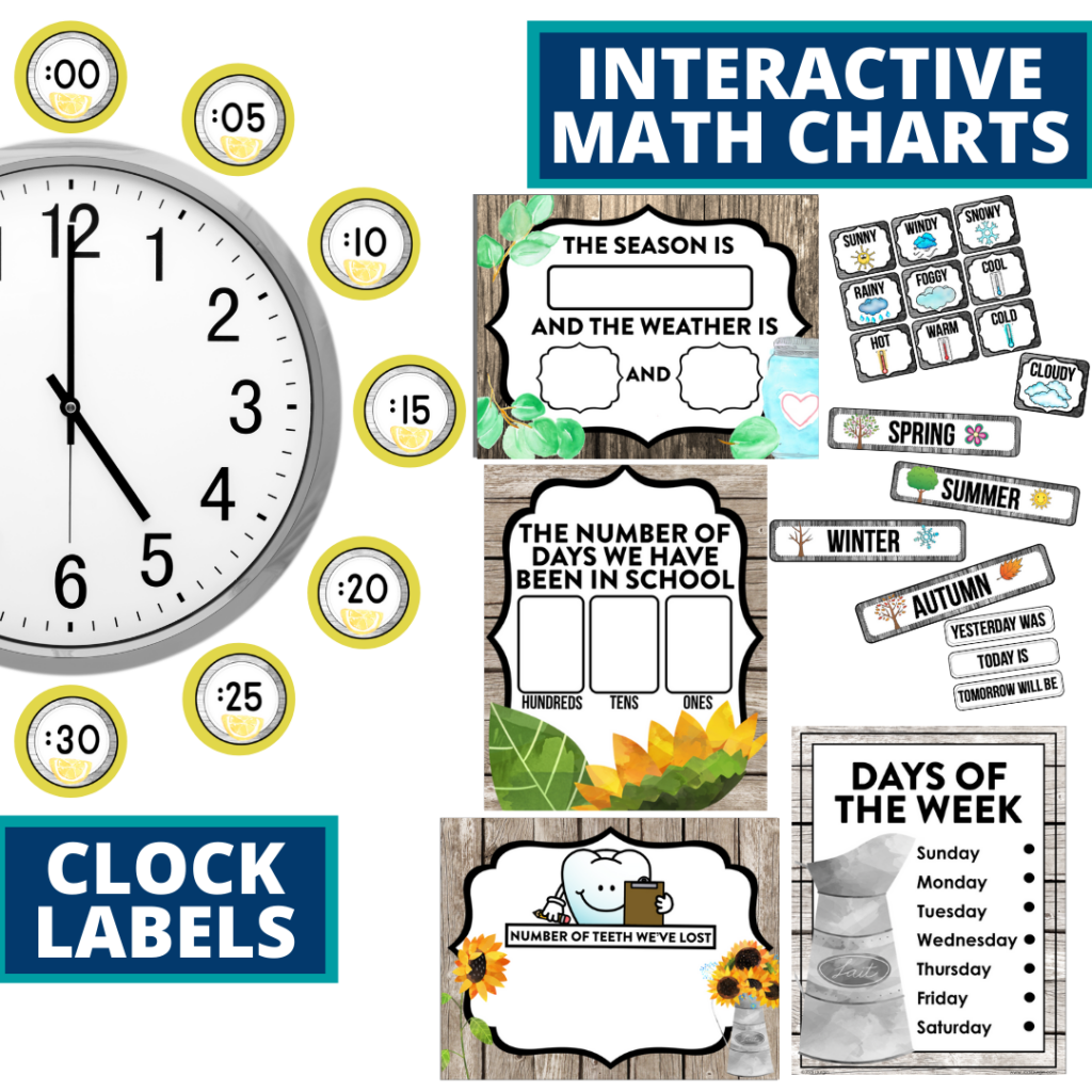 farmhouse themed math resources for telling time, place value and the days of the week