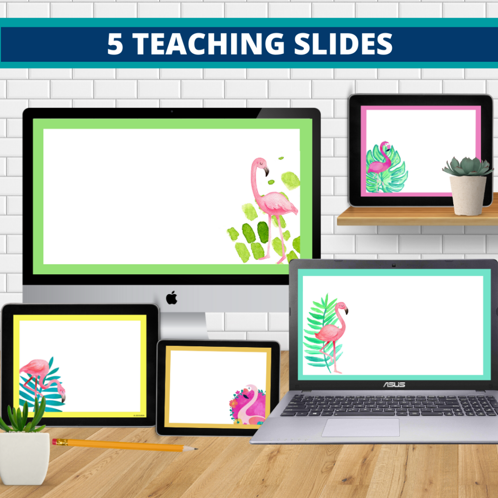 flamingo theme google classroom slides and powerpoint templates for elementary teachers shown on computers