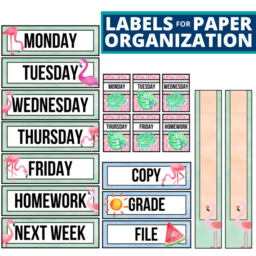 flamingo theme labels for paper organization in the classroom