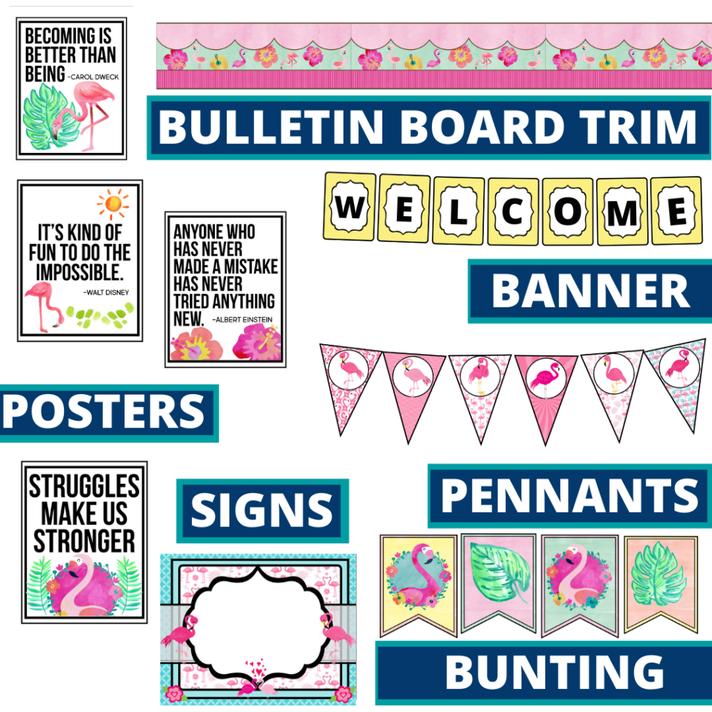 flamingo theme bulletin board trim with pennants, banner and bunting
