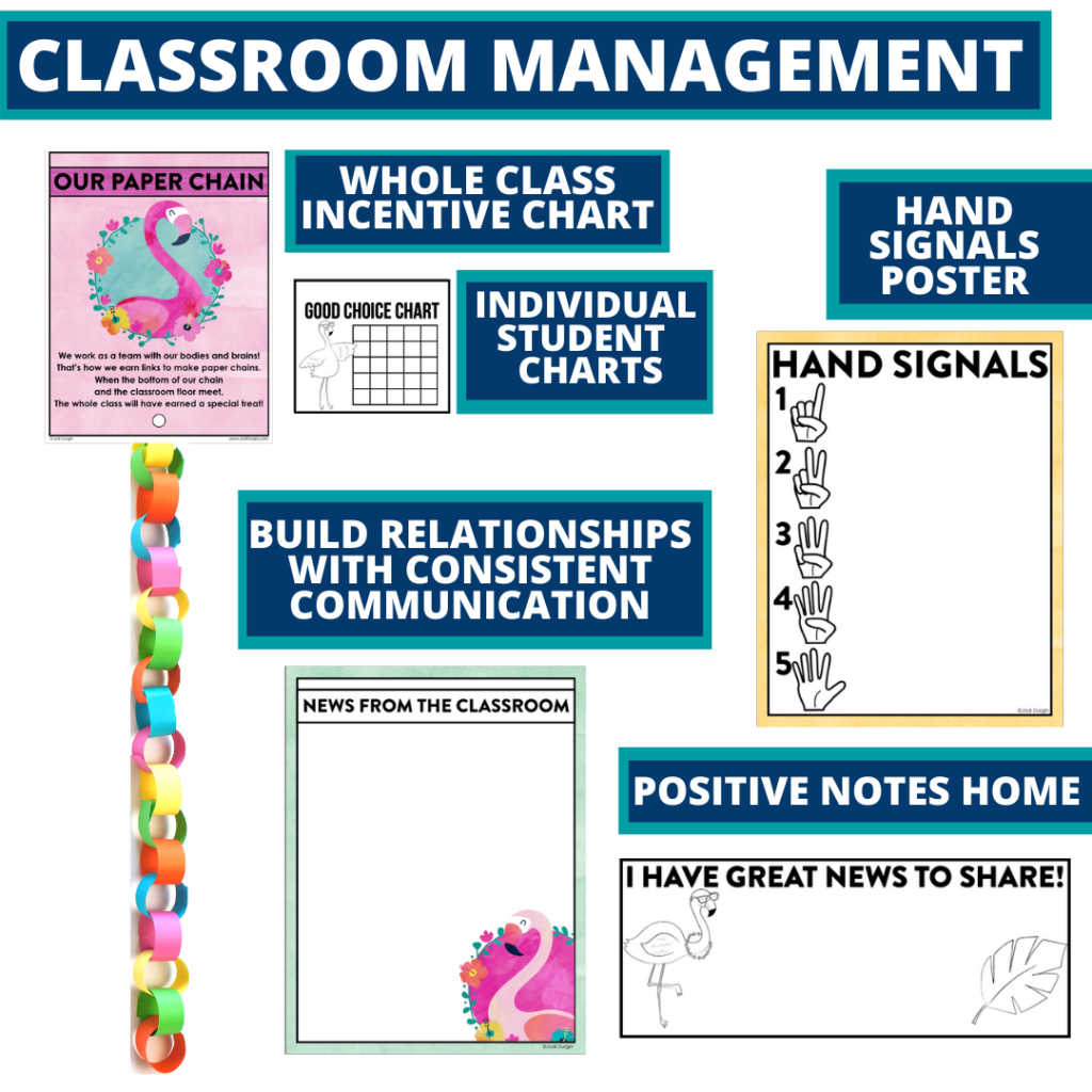 flamingo themed tools for improving student behavior in an elementary classroom