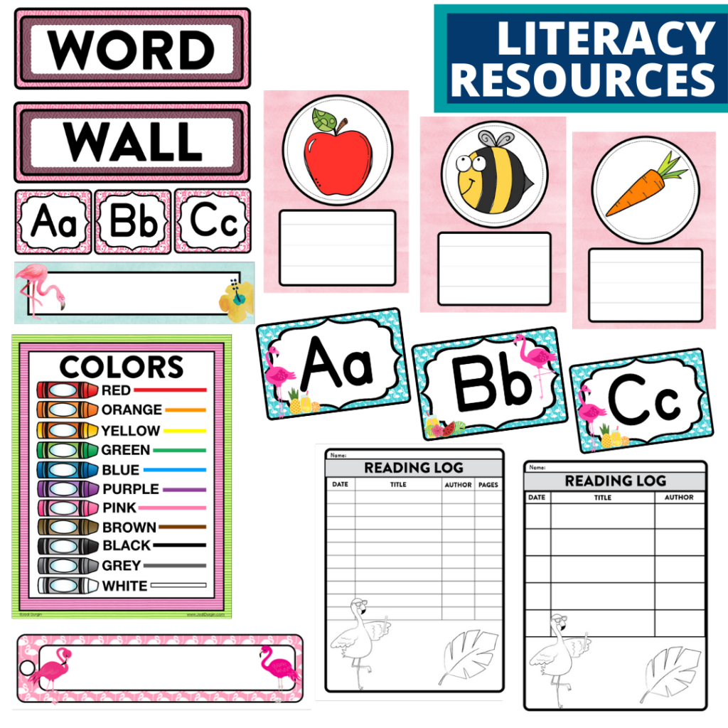 elementary classroom word wall and reading logs for a flamingo themed classroom