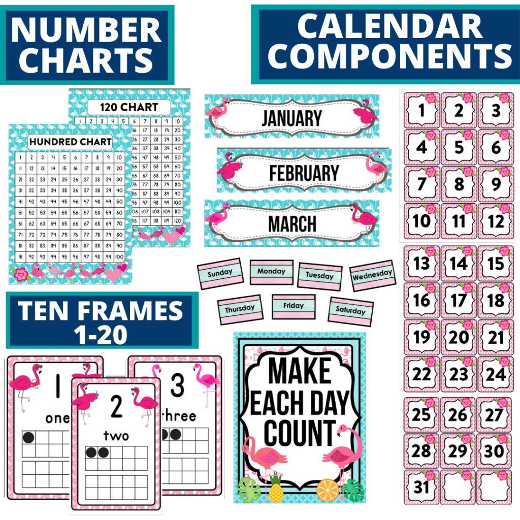 DIY printable classroom calendar for elementary teachers using a flamingo classroom theme