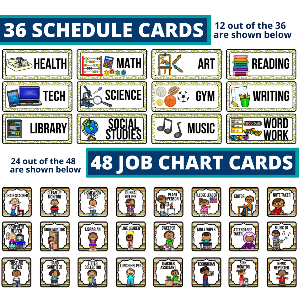 editable elementary schedule cards and job chart labels with a fox theme