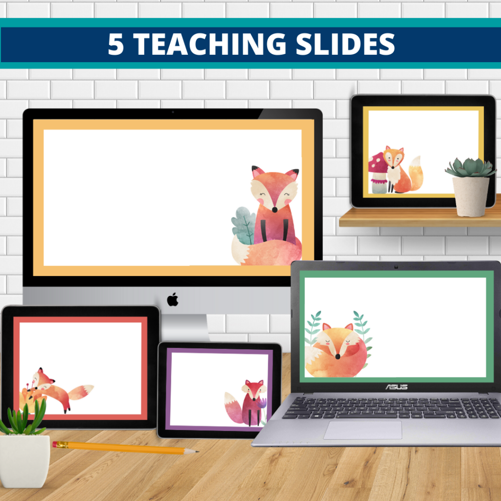 fox theme google classroom slides and powerpoint templates for elementary teachers shown on computers