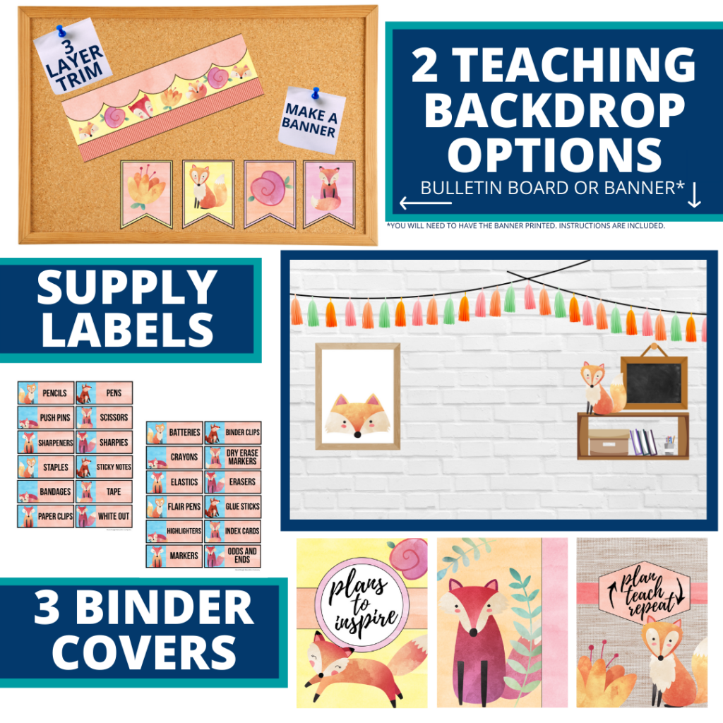 fox themed background for a cheap and easy online teaching or a VIP kid backdrop
