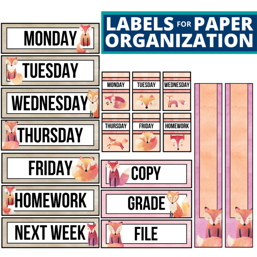 fox theme labels for paper organization in the classroom