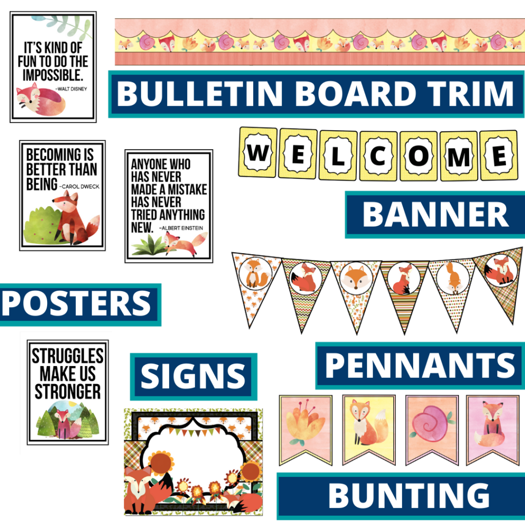 fox theme bulletin board trim with pennants, banner and bunting