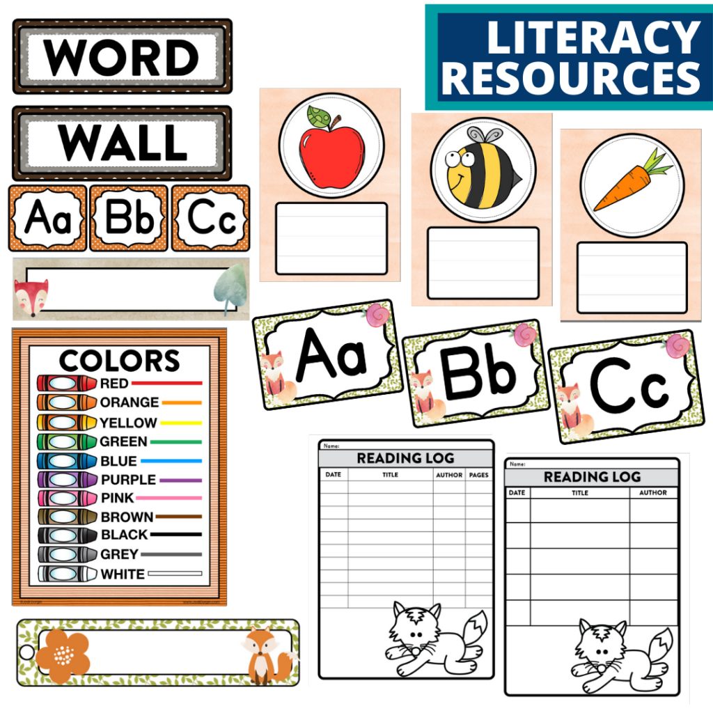 elementary classroom word wall and reading logs for a fox themed classroom