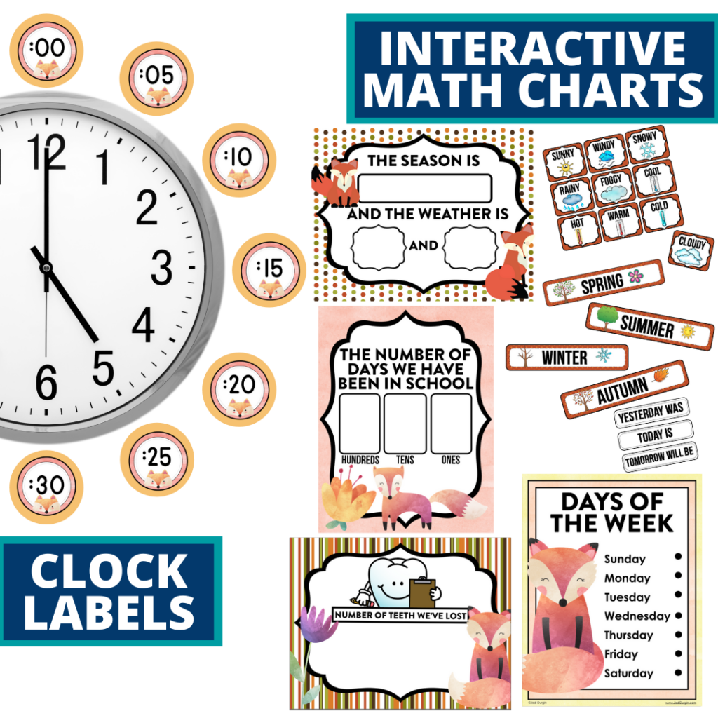 fox themed math resources for telling time, place value and the days of the week