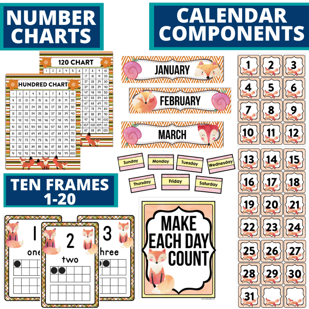 DIY printable classroom calendar for elementary teachers using a fox classroom theme