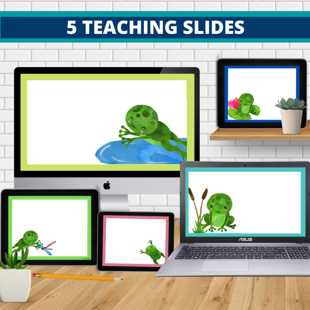 frog theme google classroom slides and powerpoint templates for elementary teachers shown on computers