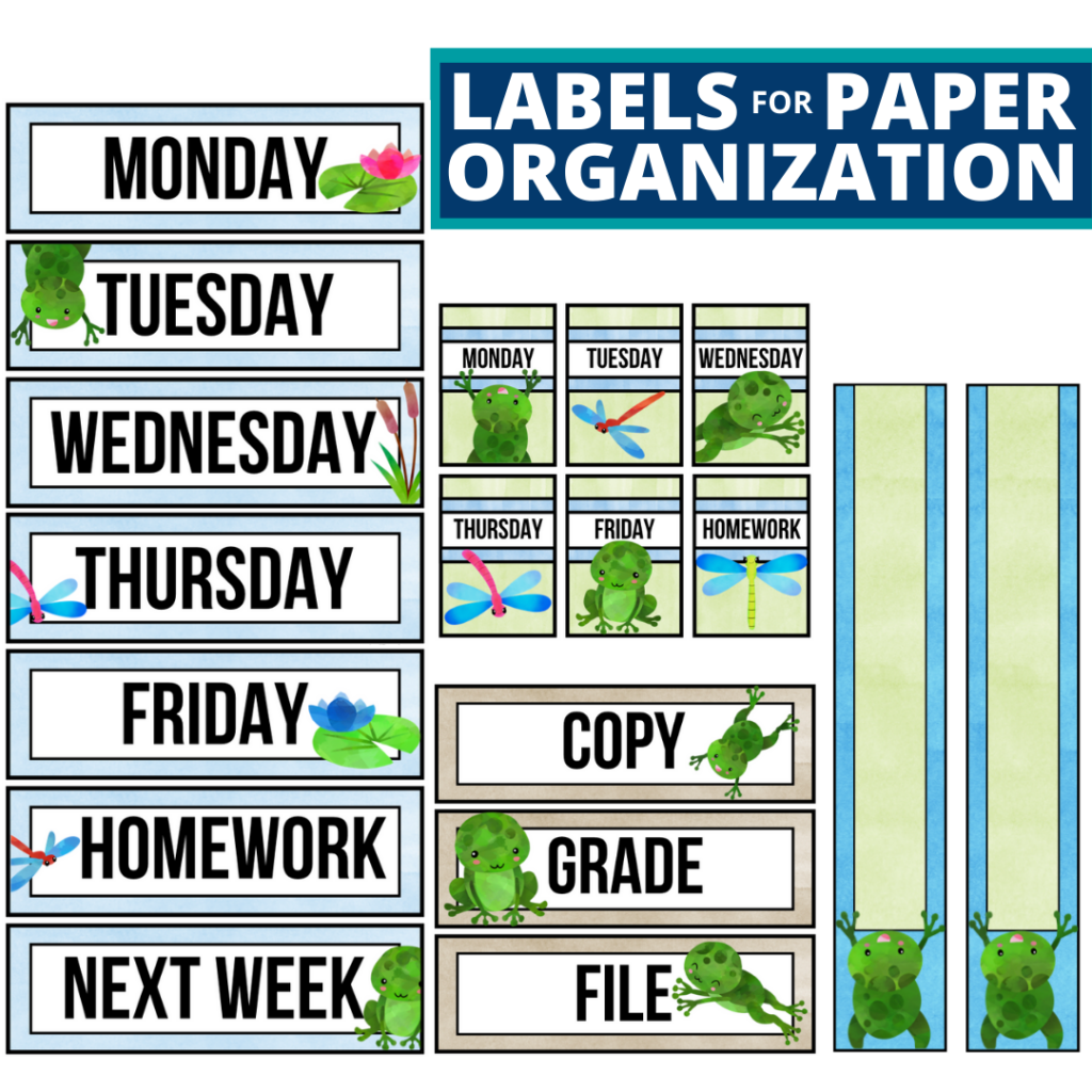 frog theme labels for paper organization in the classroom