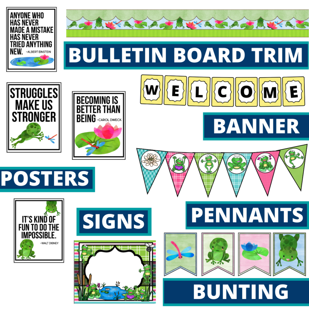 frog theme bulletin board trim with pennants, banner and bunting