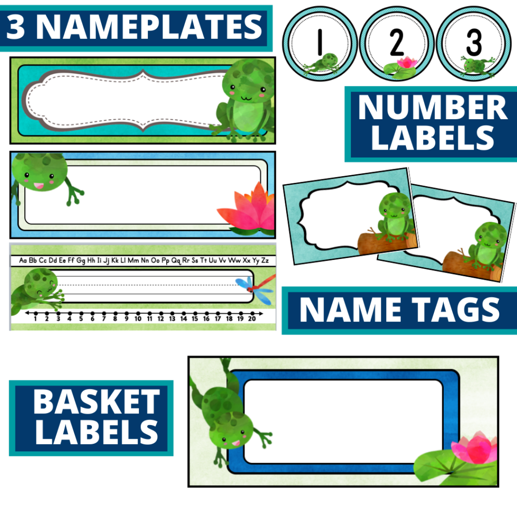 editable nameplates and basket labels for a frog themed classroom