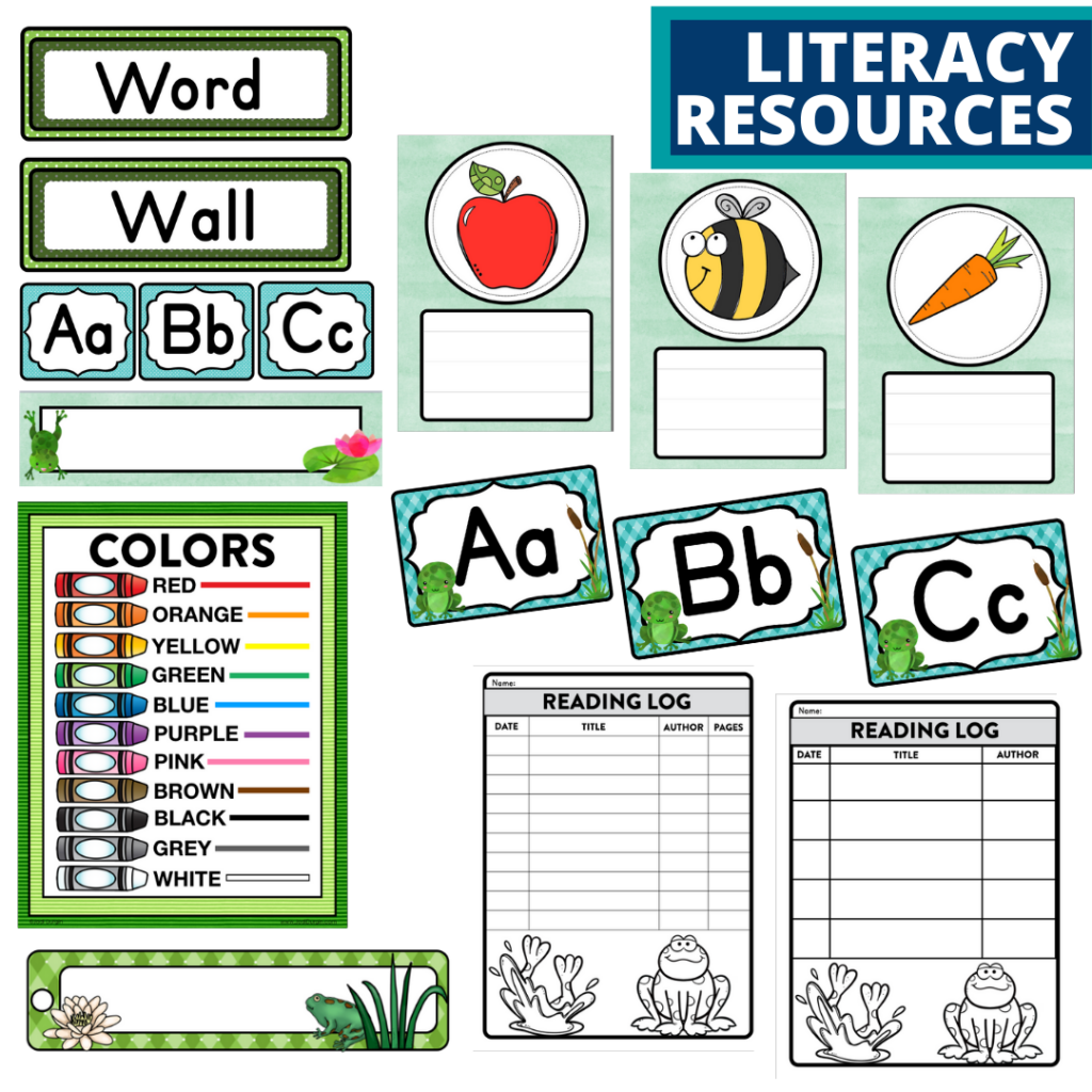 elementary classroom word wall and reading logs for a frog themed classroom