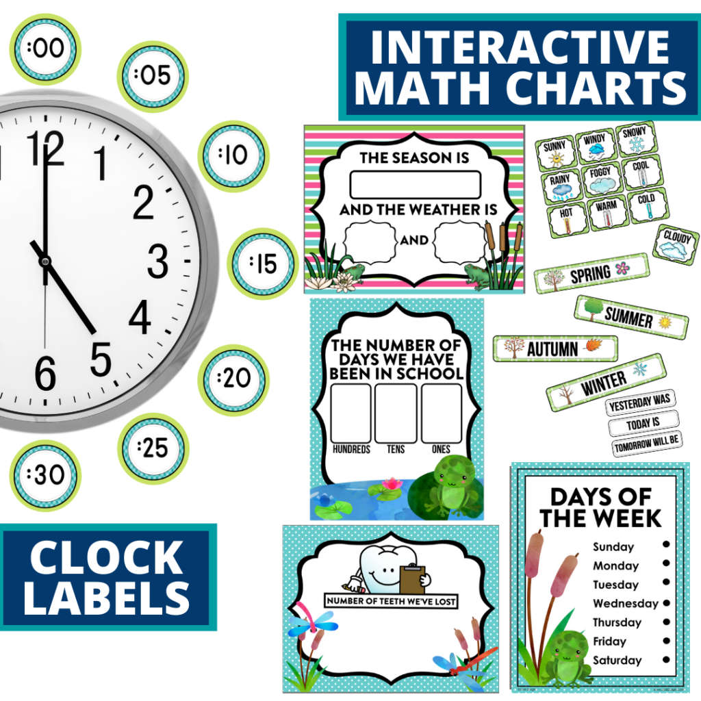 frog themed math resources for telling time, place value and the days of the week