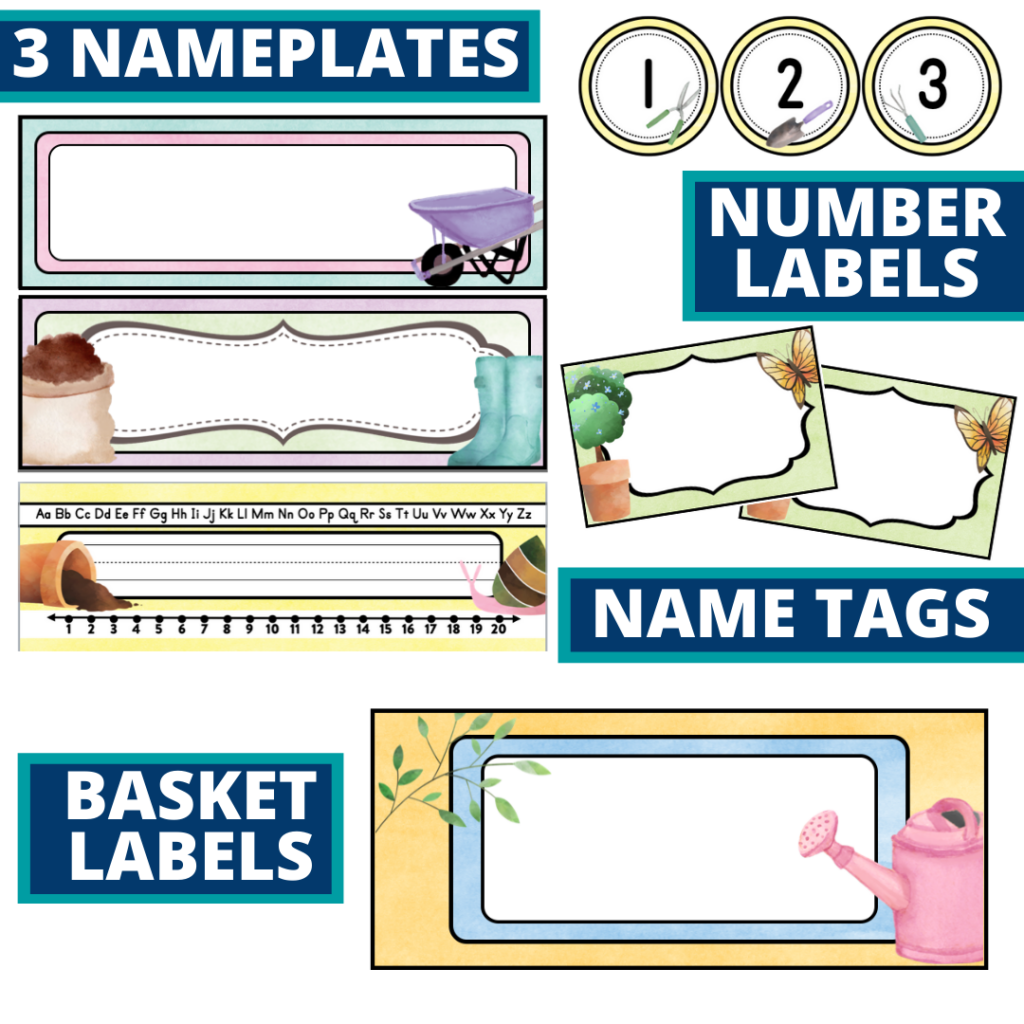 editable nameplates and basket labels for a garden themed classroom