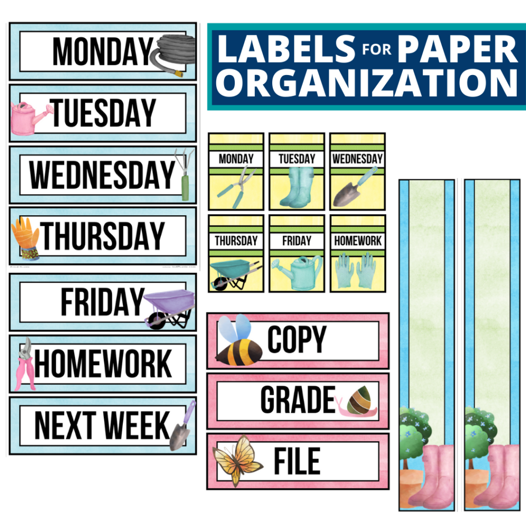 garden theme labels for paper organization in the classroom