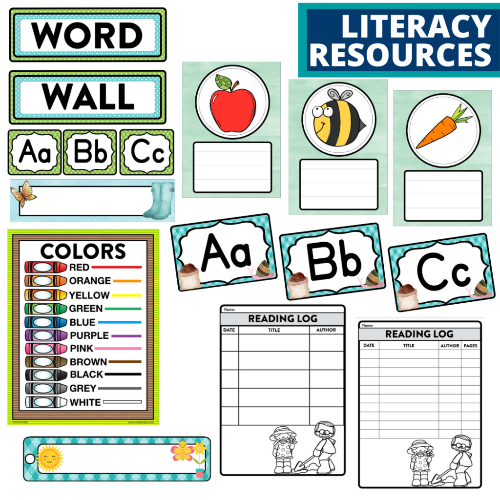 elementary classroom word wall and reading logs for a garden themed classroom
