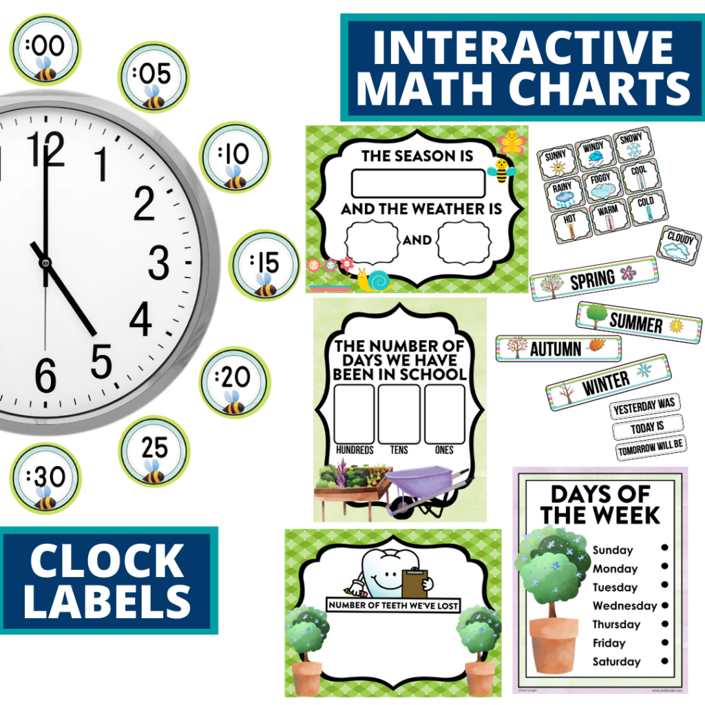 garden themed math resources for telling time, place value and the days of the week
