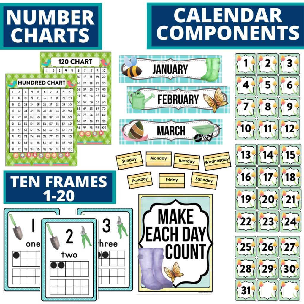 DIY printable classroom calendar for elementary teachers using a garden classroom theme