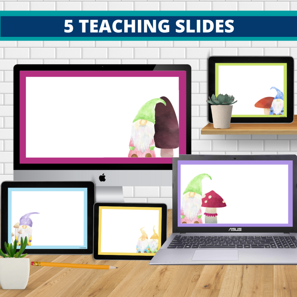 gnome theme google classroom slides and powerpoint templates for elementary teachers shown on computers