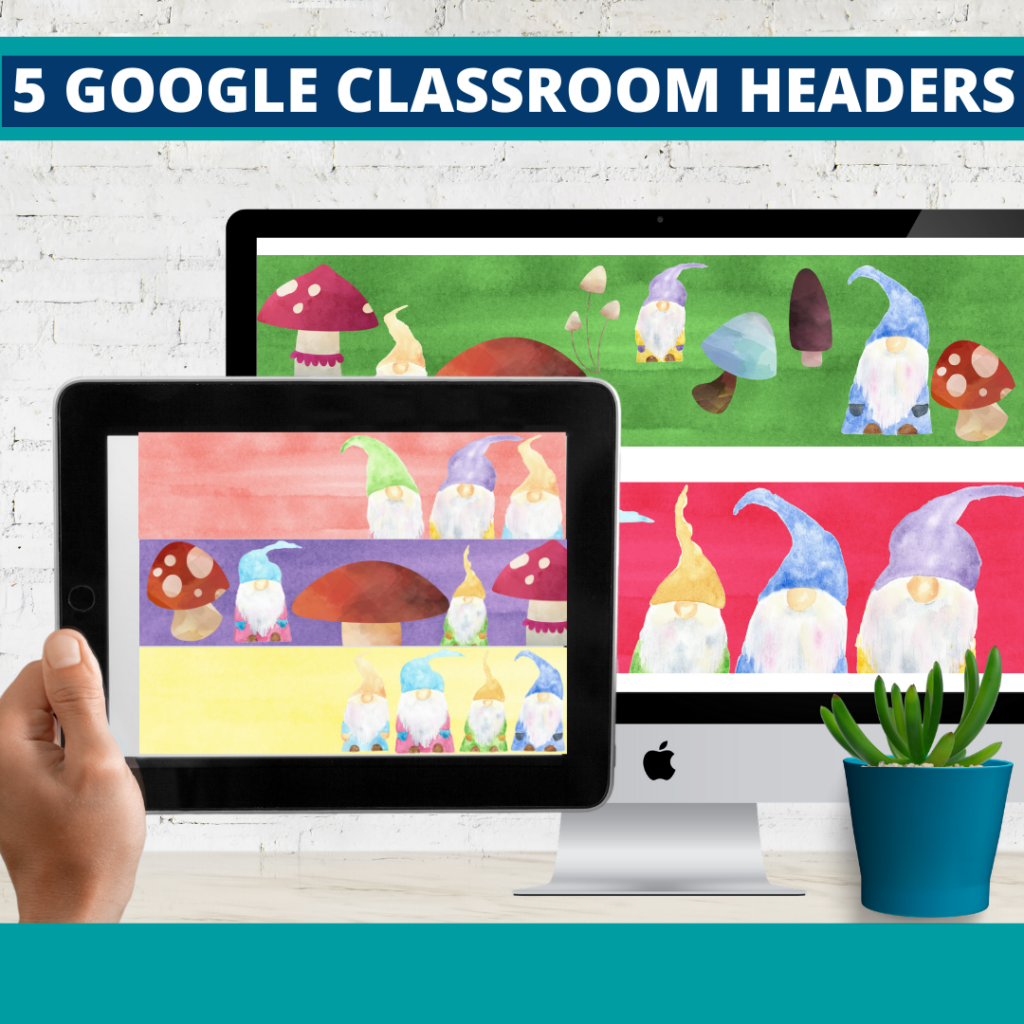 gnome classroom themed google classroom headers and google classroom banners