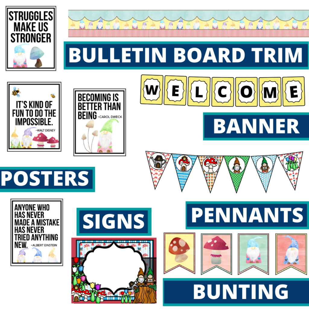 gnome theme bulletin board trim with pennants, banner and bunting