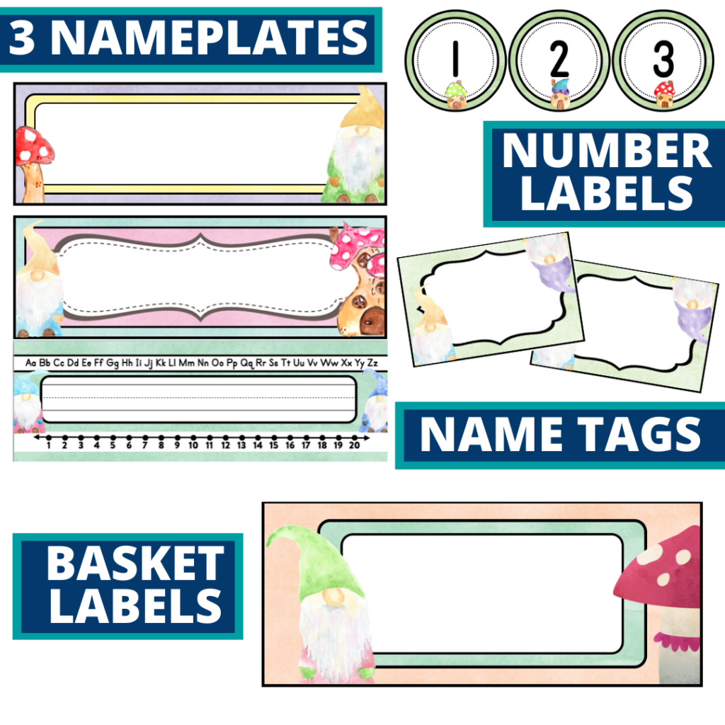 editable nameplates and basket labels for a gnome themed classroom